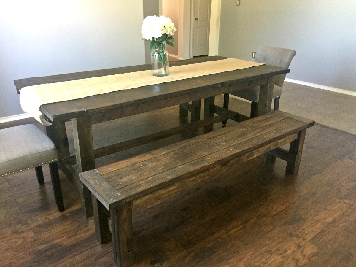 Ana white farmhouse dining room table with benches for Ana white x dining room table