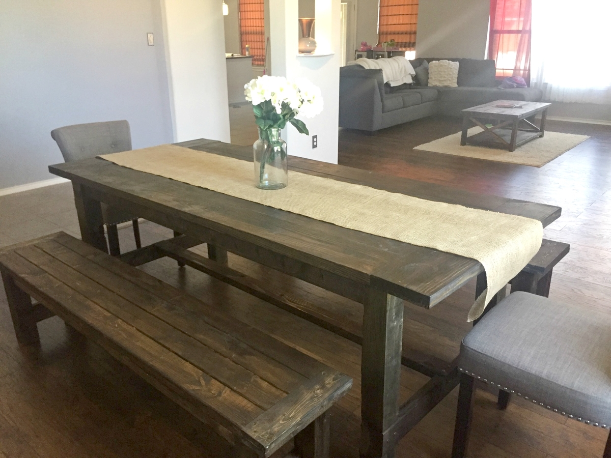 Ana white farmhouse dining room table with benches for Dining room farm table