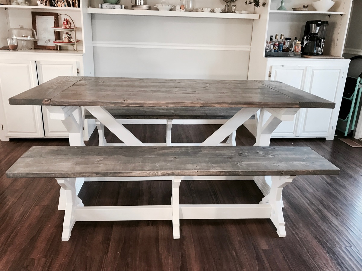 Ana White | Two Tone Weathered Gray X Farmhouse Table and ...