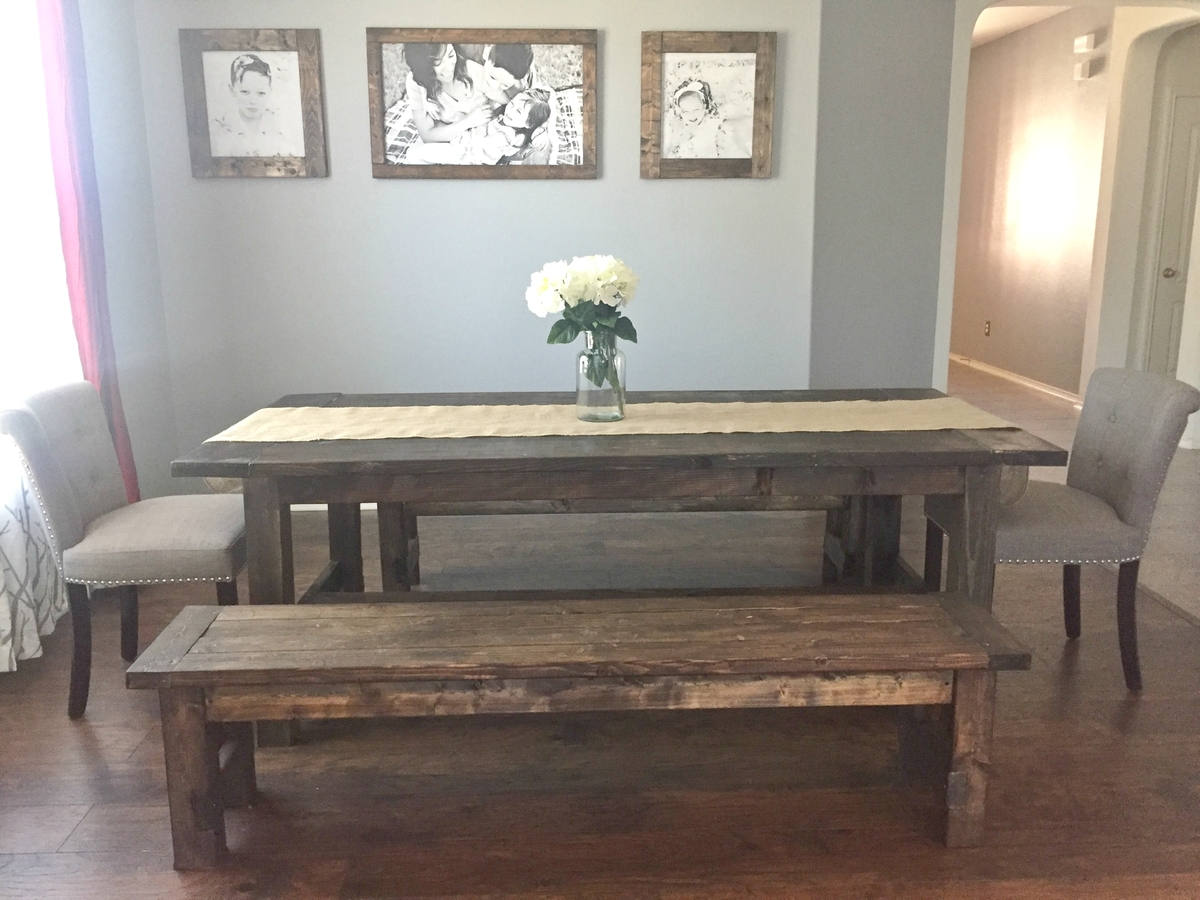 Farmhouse Dining Room Table With Benches Ana White