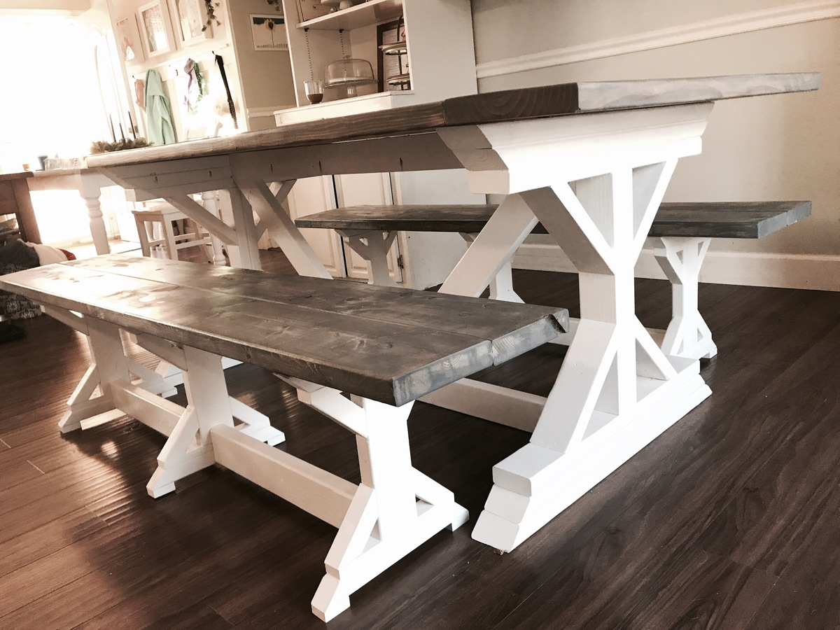Two Tone Weathered Gray X Farmhouse Table And Benches Ana