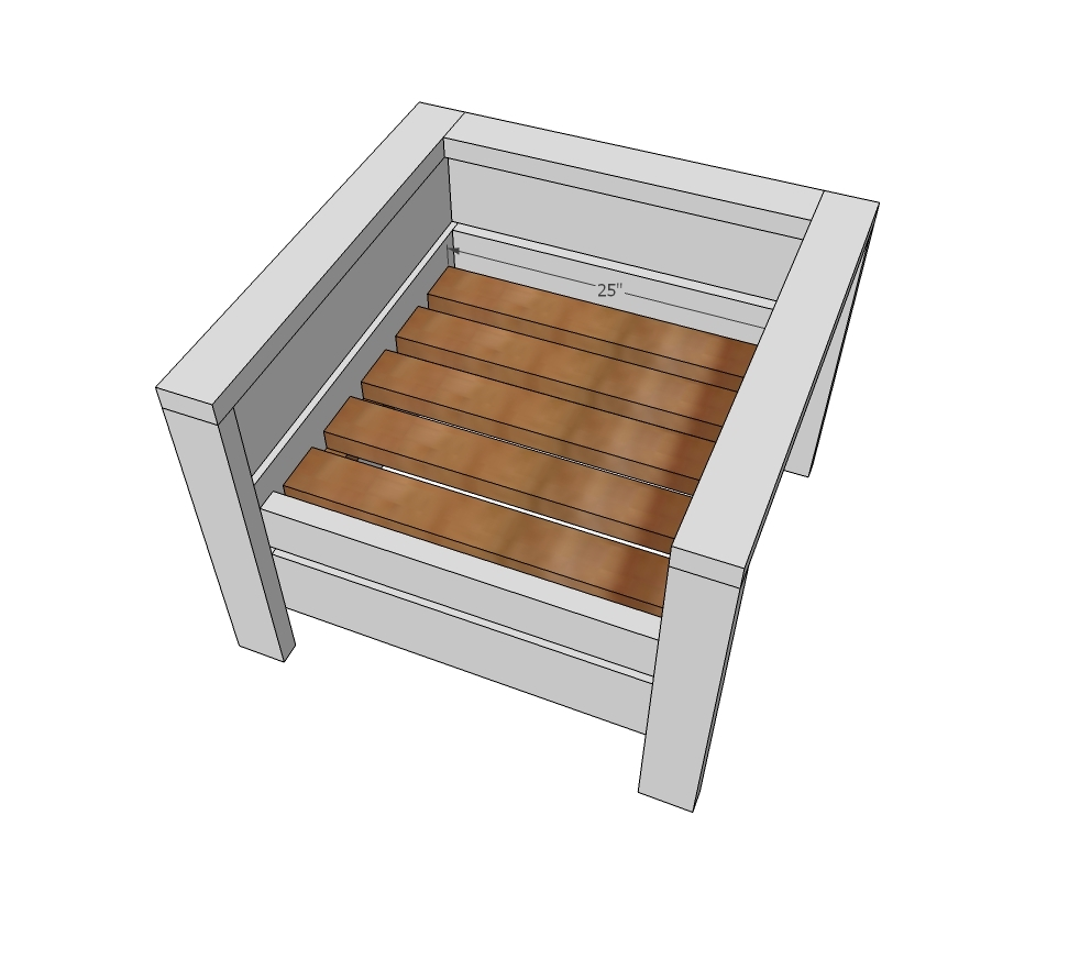Screw cleats to inside of chair flush to bottom of the middle 2x6 side slat.  sc 1 st  Ana White & Ana White | Modern Outdoor Chair from 2x4s and 2x6s - DIY Projects