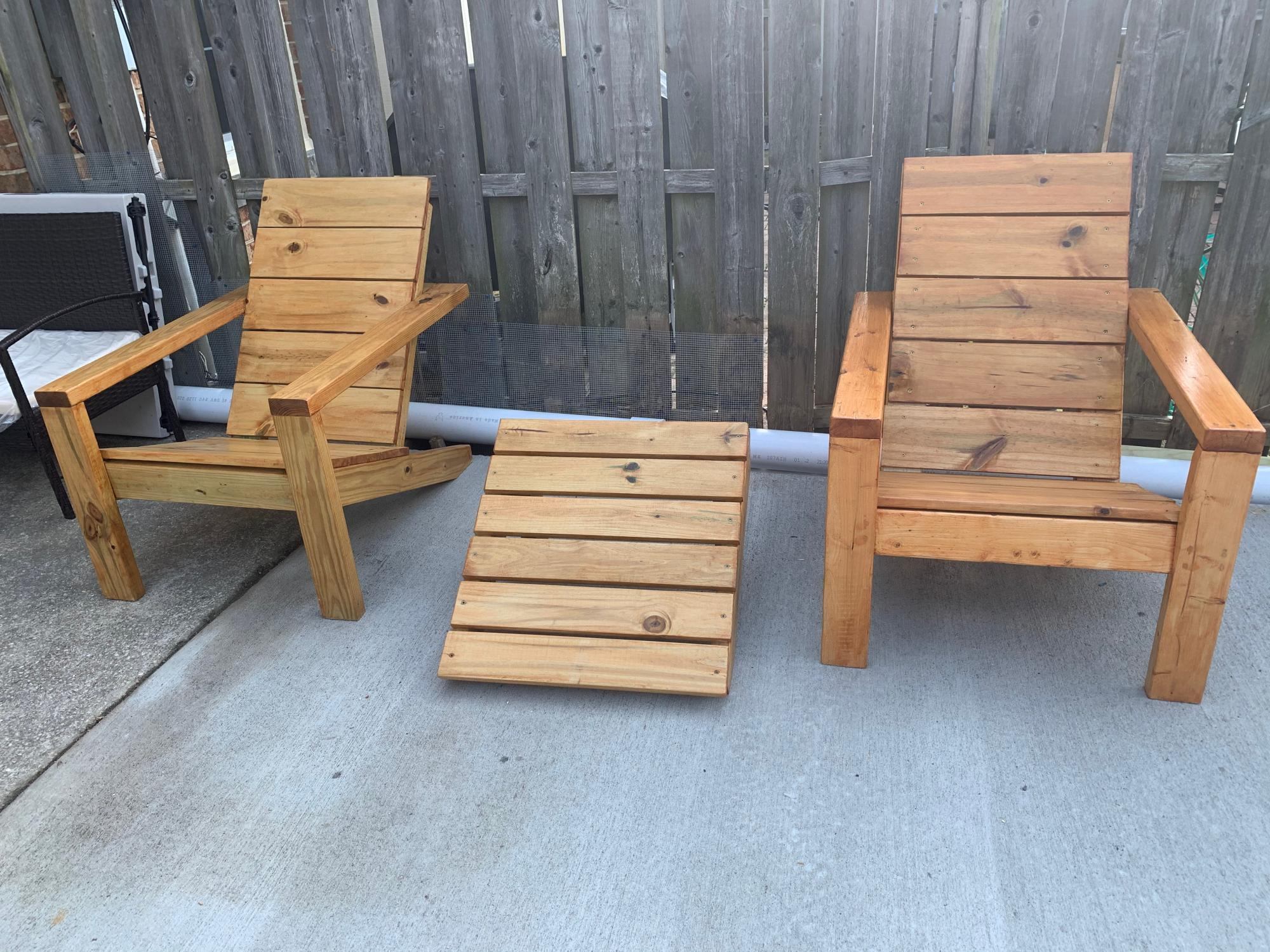Adirondack Chairs First Ever Wood Project Completed