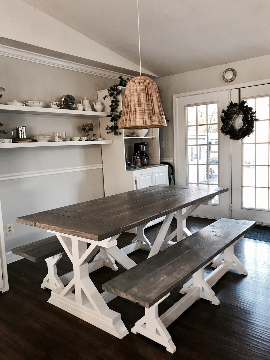 Ana White Two Tone Weathered Gray X Farmhouse Table And
