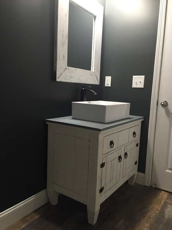 farmhouse bathroom vanity featuring andrew harris woodwork - Farmhouse Bathroom Vanity