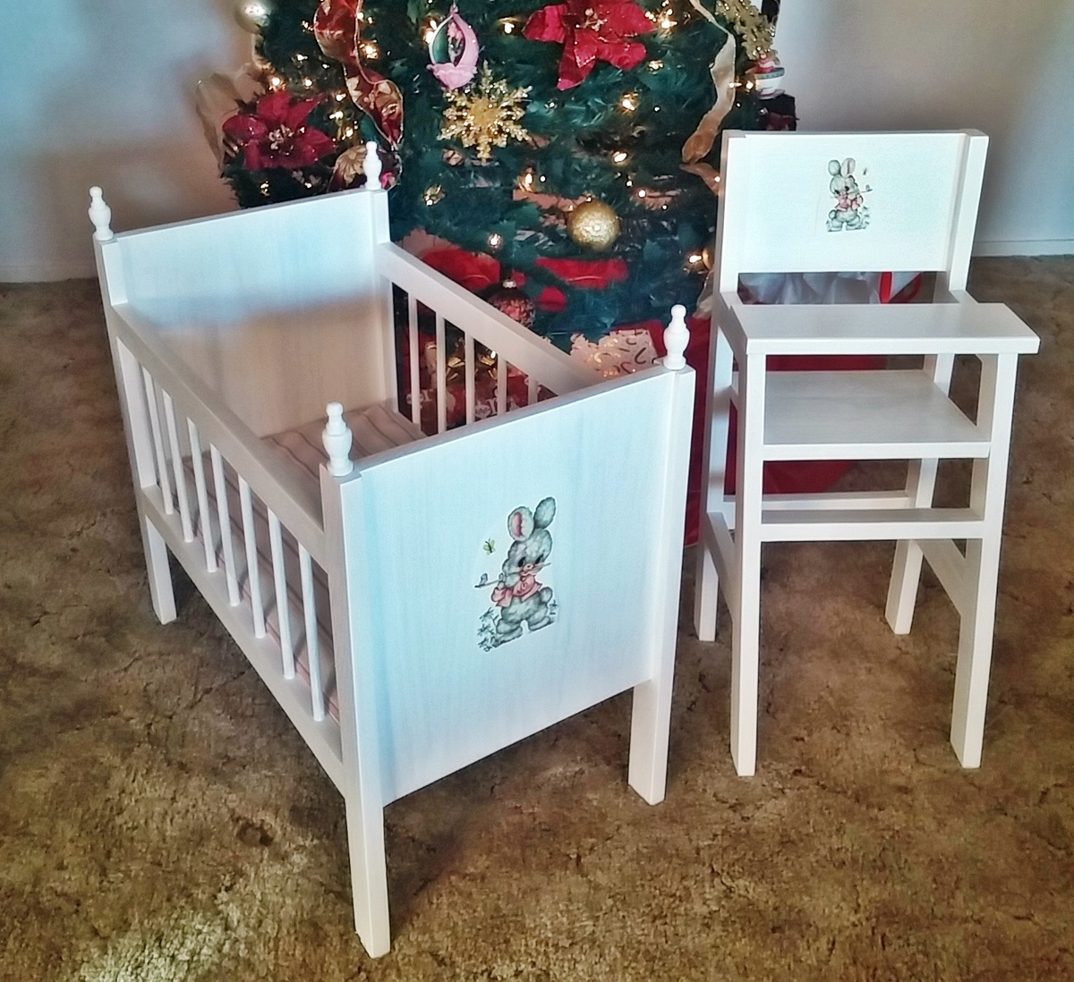 Fancy Baby Doll Crib and Hi Chair