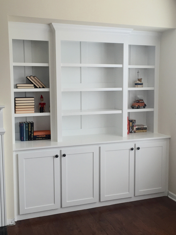 built in bookcase with lights