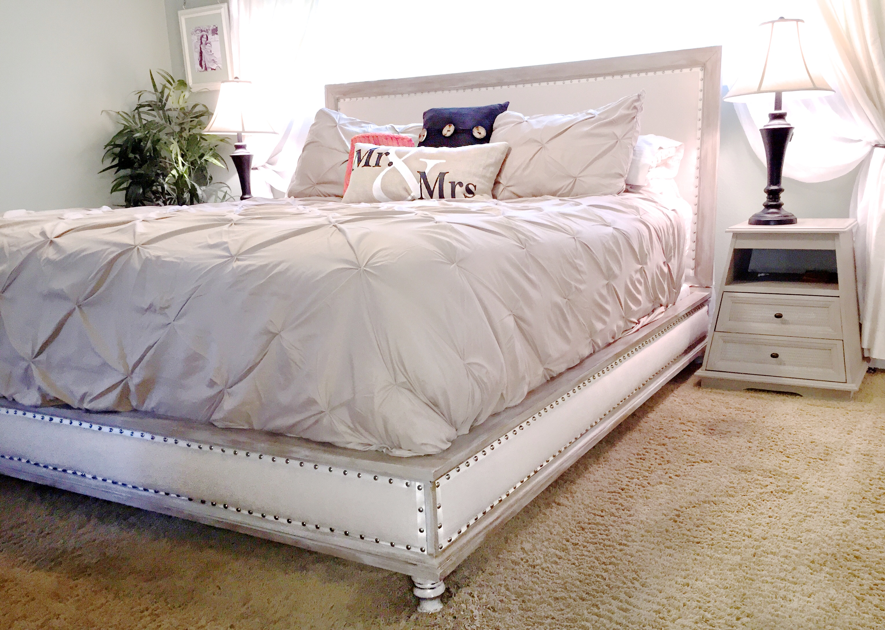 Wood And Upholstered Bed King Ana White
