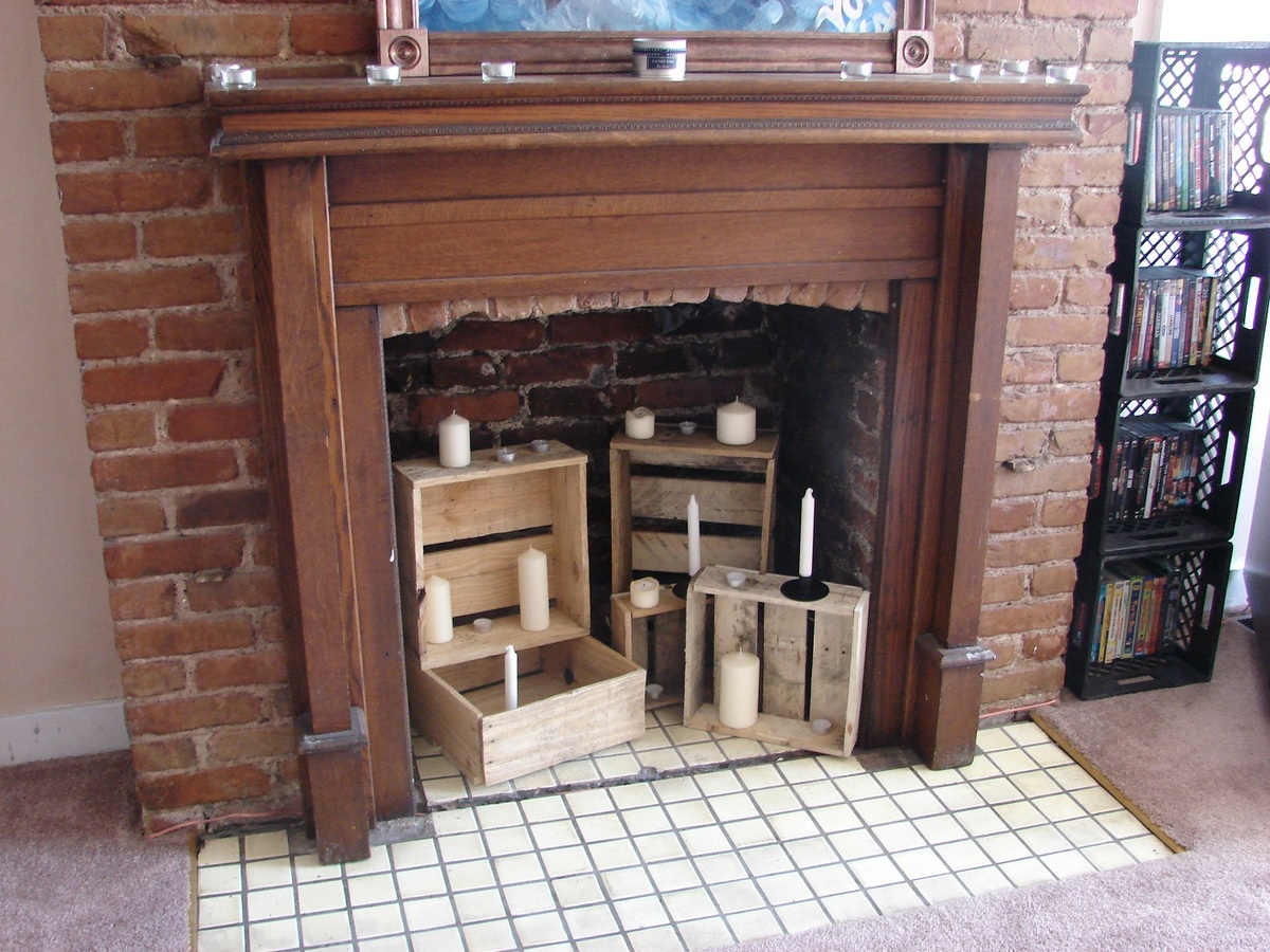 Ana white little crate fireplace decor diy projects - Non working fireplace ideas ...
