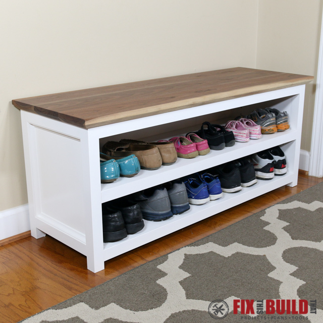 diy entryway bench with shoe storage & Ana White | Entryway Shoe Bench - DIY Projects