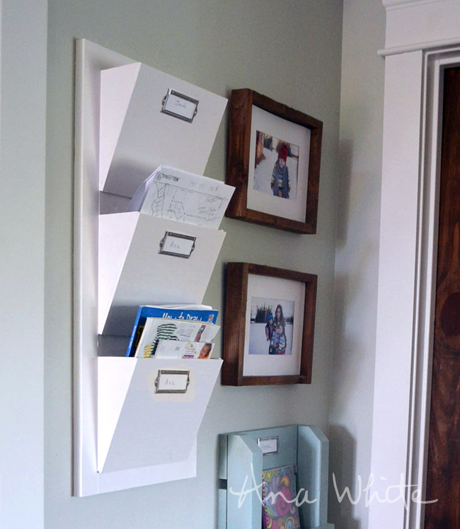how to build a wall shelf for magazines or mail bins are sized perfect for mail make out of 1x2s and 14 plywood super inexpensive and easy to build