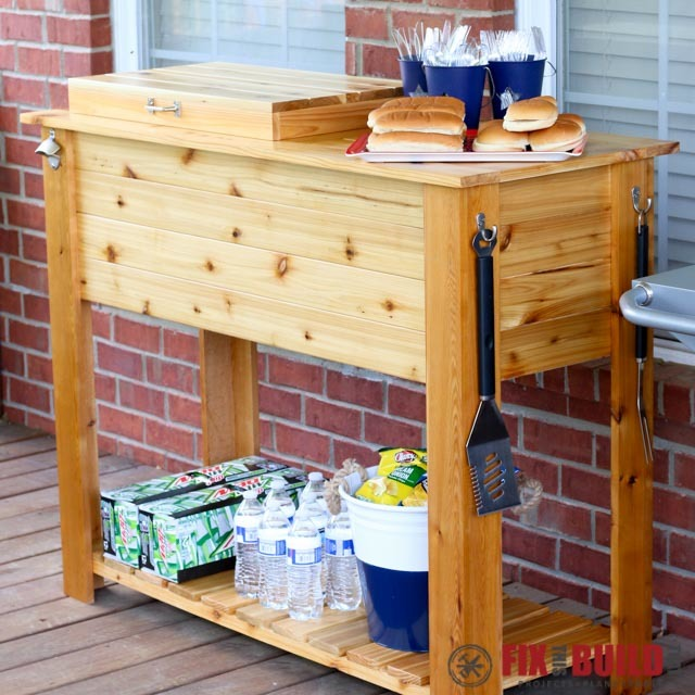 Ana White | Patio Cooler & Grill Cart Combo - DIY Projects on Diy Bbq Patio id=89545