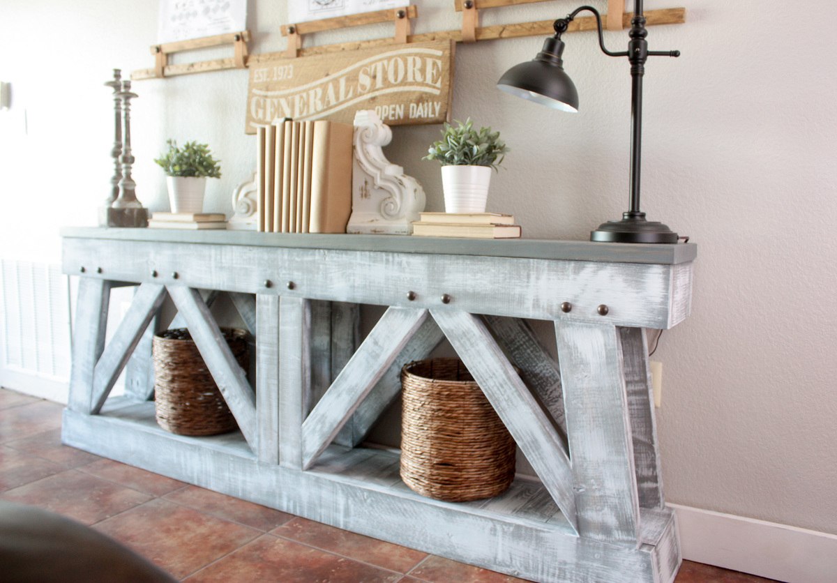 DIY Slim Truss Console Table