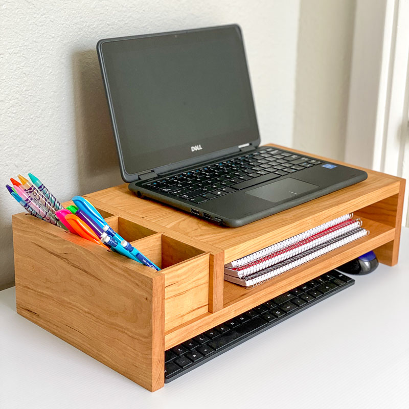 laptop stand with pencil storage