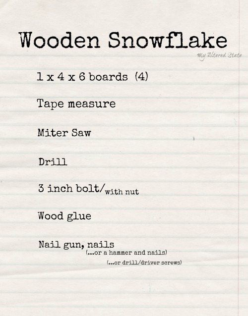 Wooden Snowflake Supply List
