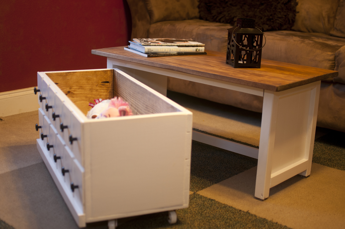 Ana White Apothecary Coffee Table With Toy Trundle Diy Projects