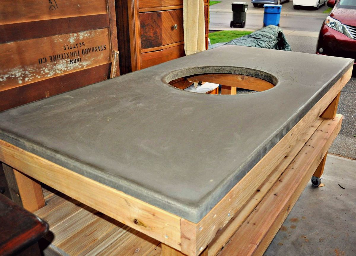 Miraculous Diy Big Green Egg Grill Table With Concrete Top Ana White Home Interior And Landscaping Eliaenasavecom
