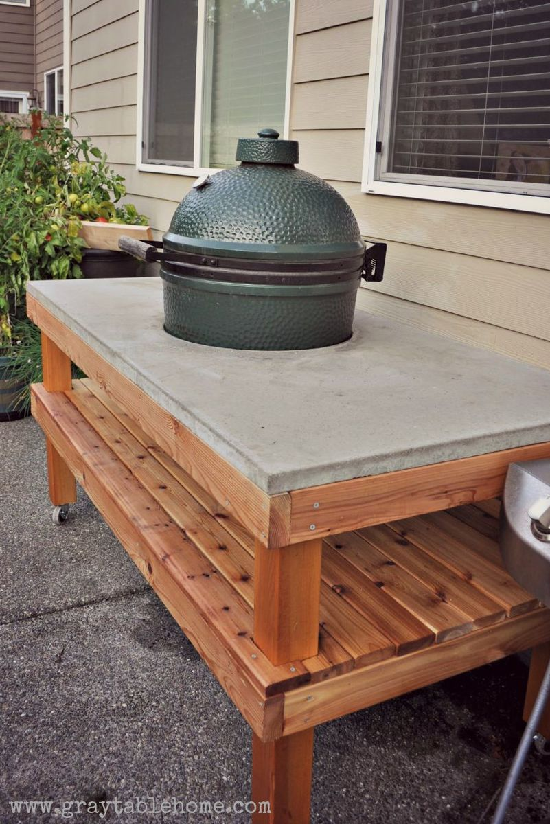 Attrayant DIY Big Green Egg Grill Table With Concrete Top