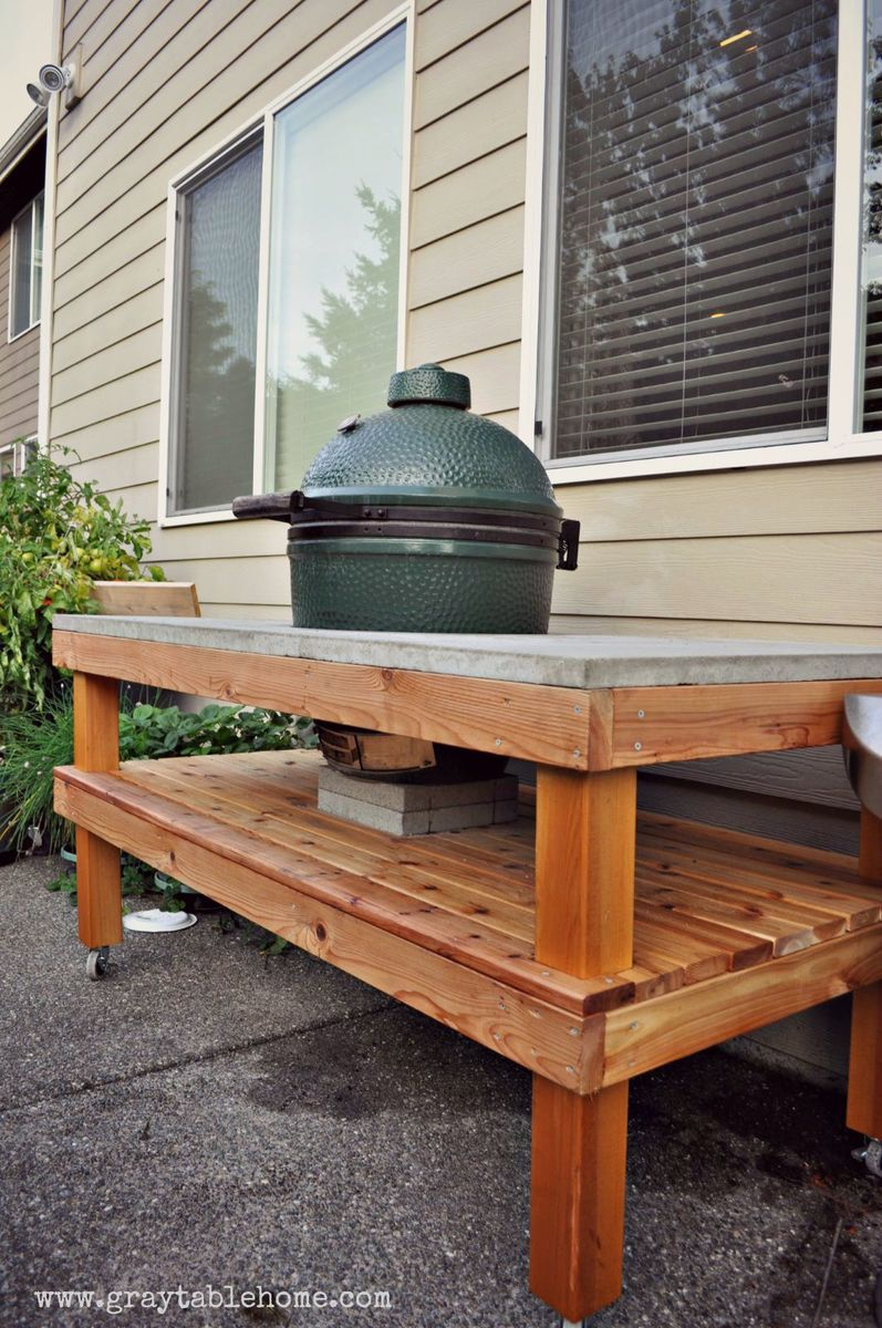 Additional Photos. Ana White   DIY Big Green Egg Grill Table with Concrete Top   DIY