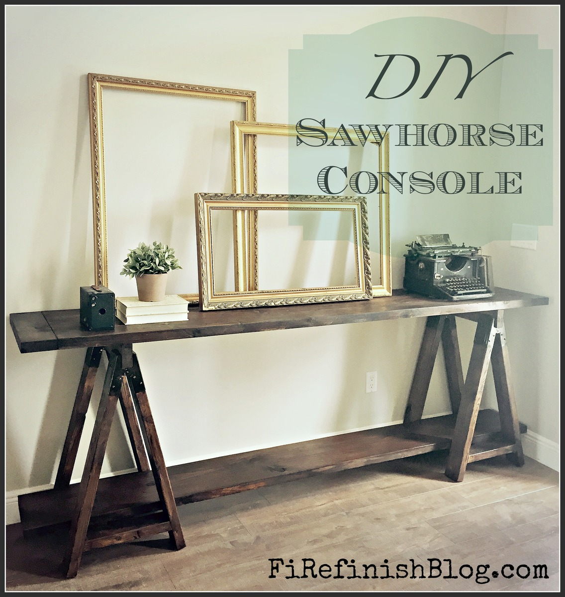 Diy crate console table - Diy Sawhorse Console Table