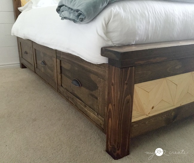 Farmhouse Storage Bed with Geometric Pattern | Do It Yourself Home ...