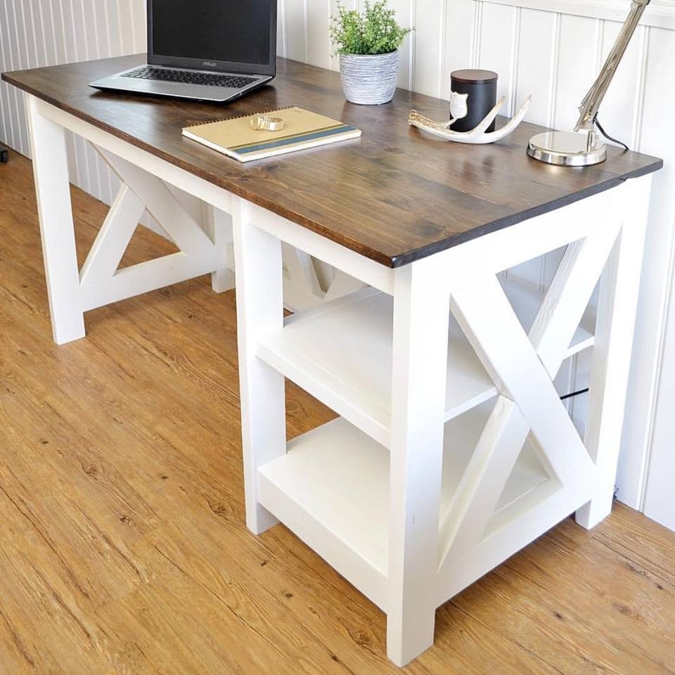 Ana White Farmhouse X Desk Diy Projects