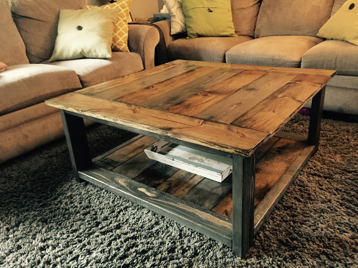 Ana white rustic xless coffee table diy projects Homemade coffee table plans