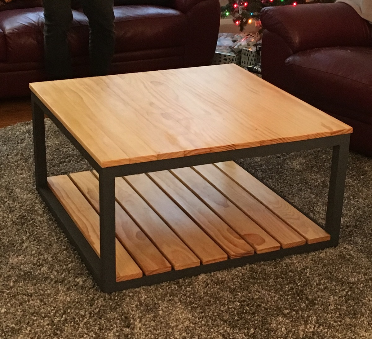 Modified Industrial Style Coffee Table W/ Bottom Shelf
