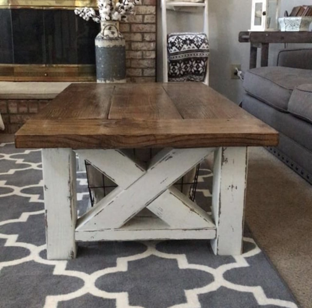 Ana white chunky farmhouse coffee table diy projects for Farmhouse table plans with x legs