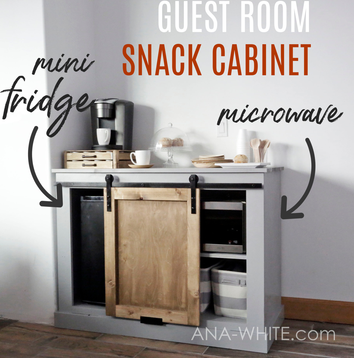 Ana White Barn Door Cabinet With Mini Fridge And Microwave Diy Projects