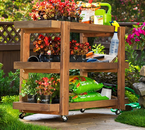 wood rolling storage cart woodworking plans