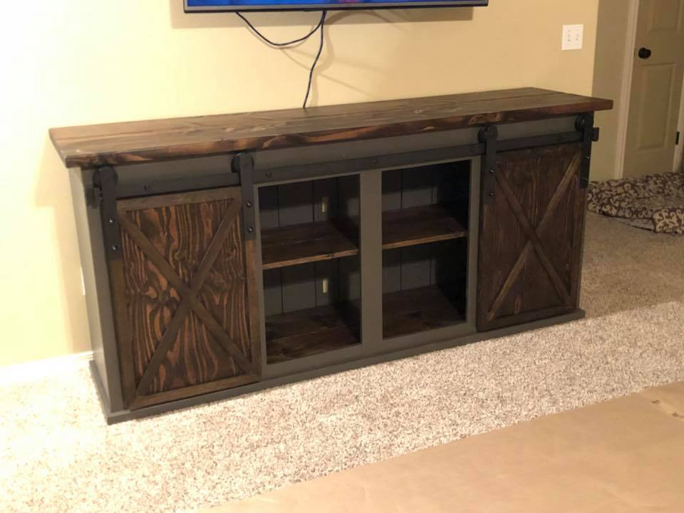 ana white grandy sliding door console modified diy projects. Black Bedroom Furniture Sets. Home Design Ideas
