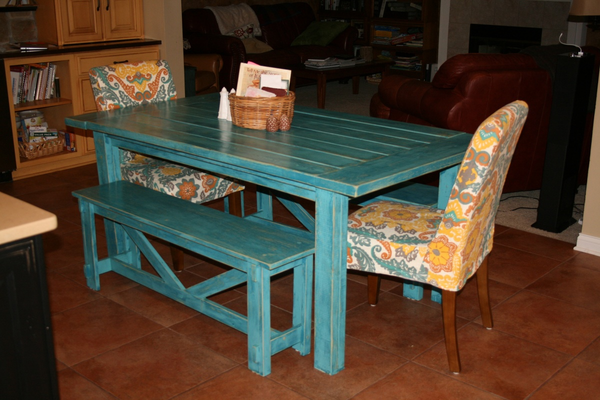 Ana White | Tuscan Turquoise Farm Table and Rustic Benches - DIY ...
