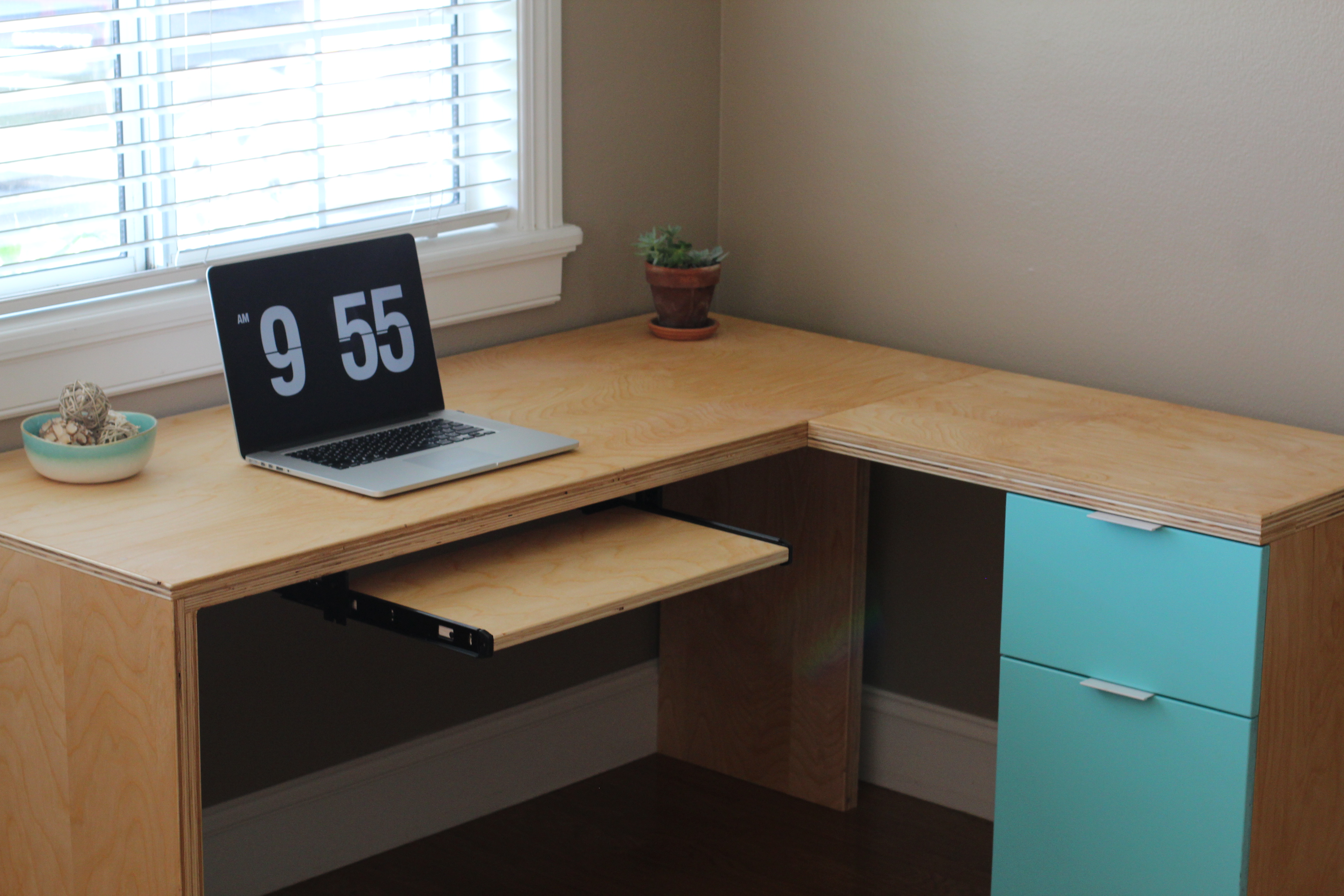 Ana White L Shape Modern Plywood Desk Diy Projects