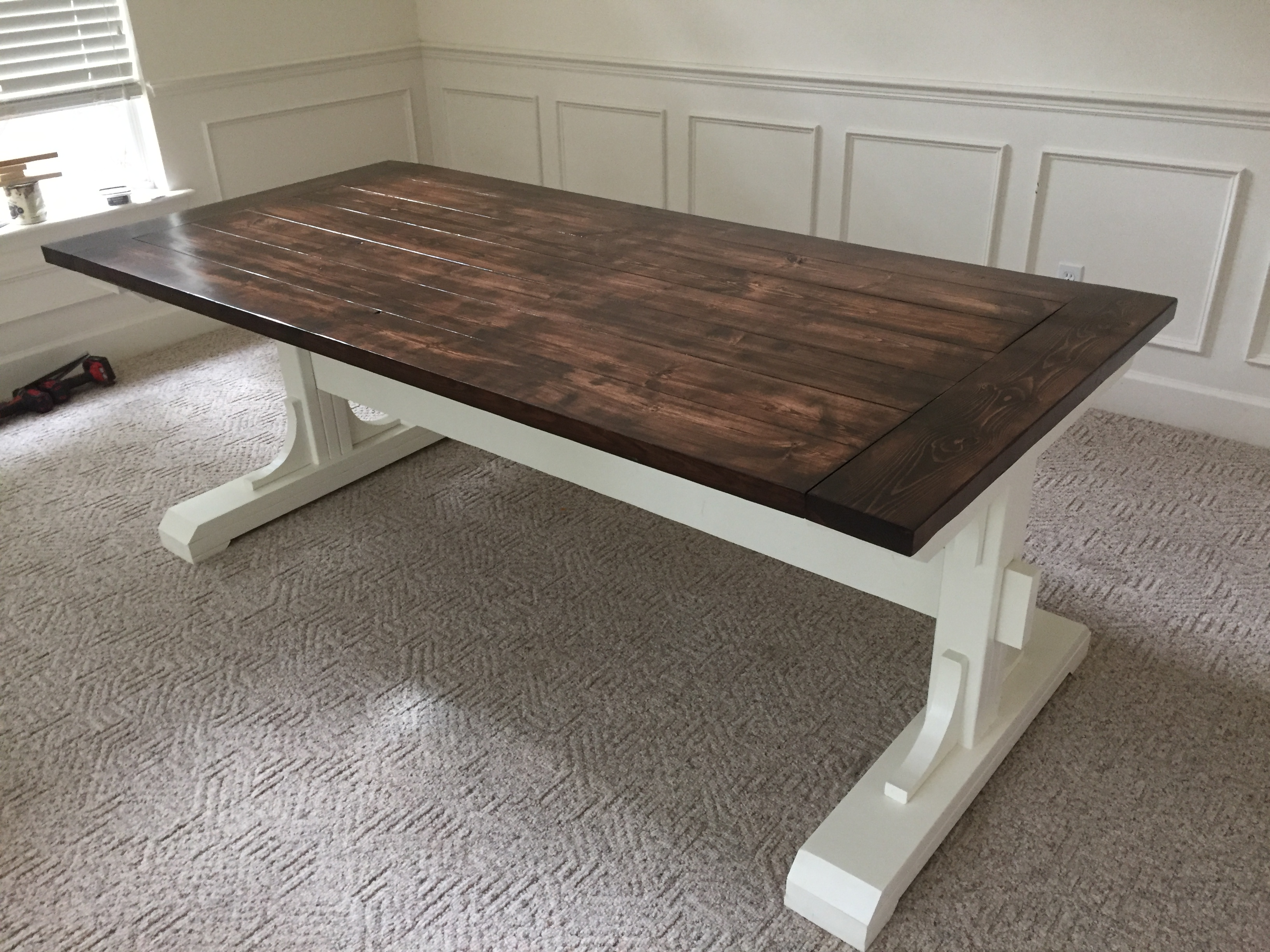 Ana white double pedestal farmhouse table diy projects Diy farmhouse table