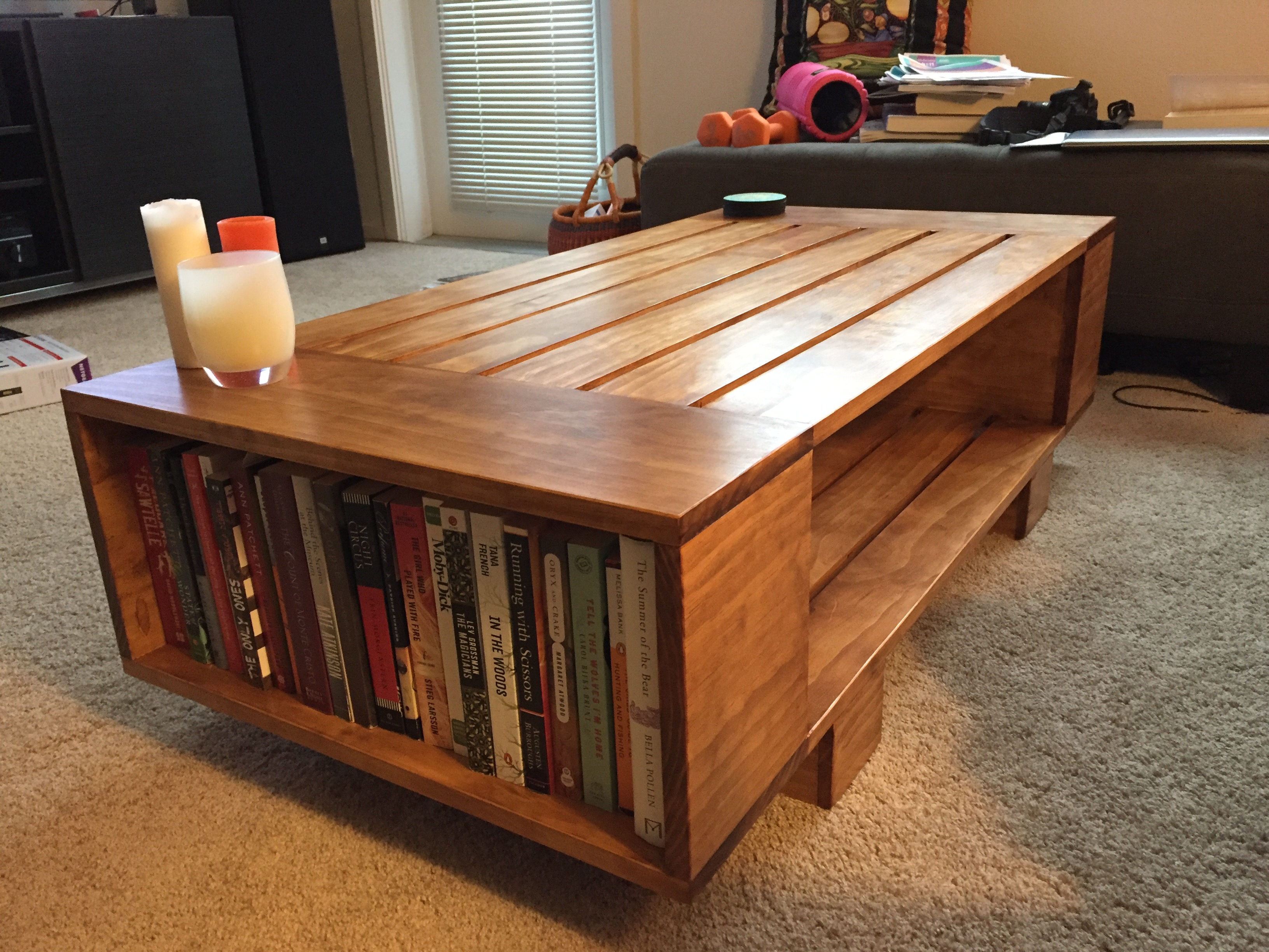 slat coffee table incorporated book shelves