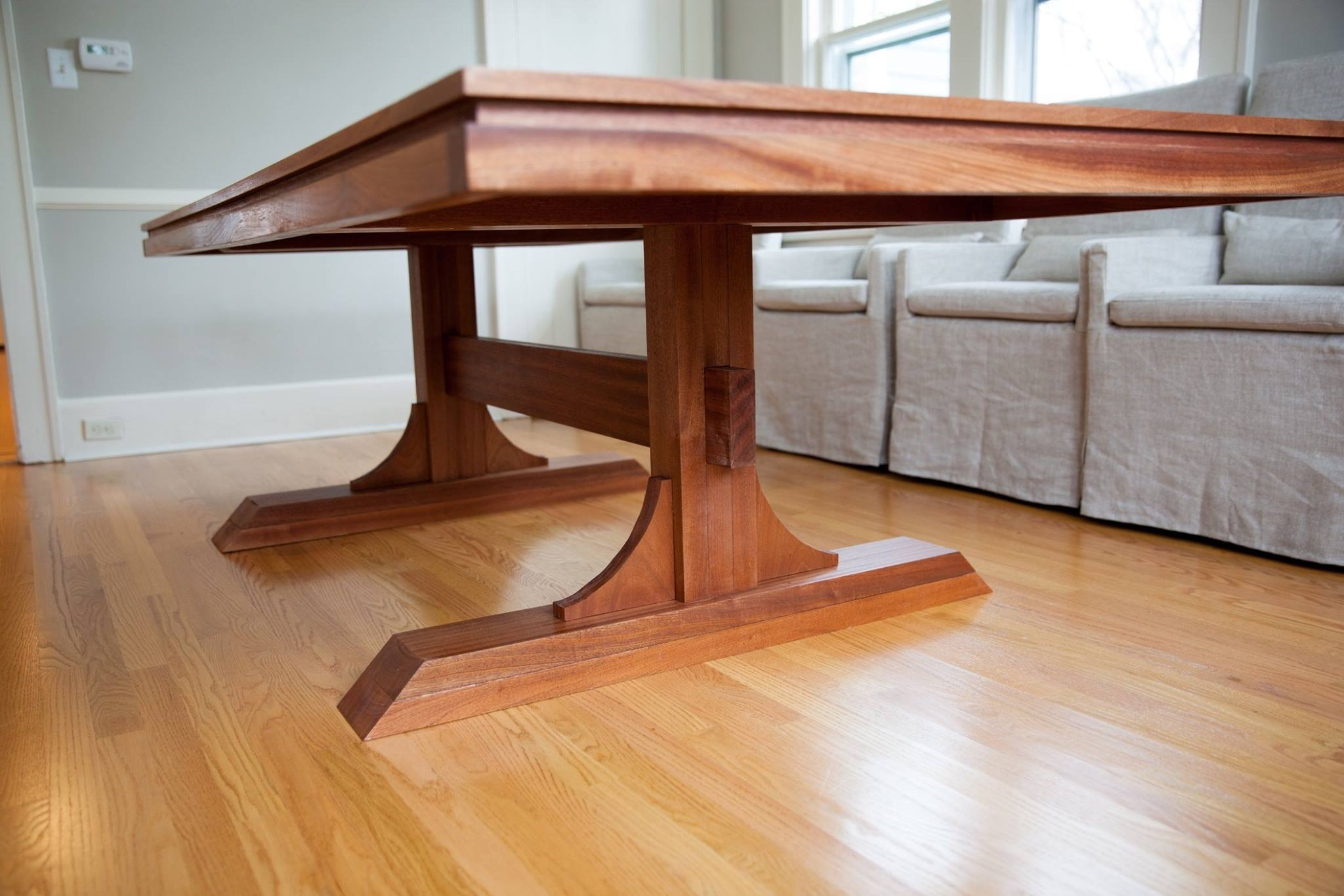 Mahogany Double Pedestal Farmhouse Dining Table