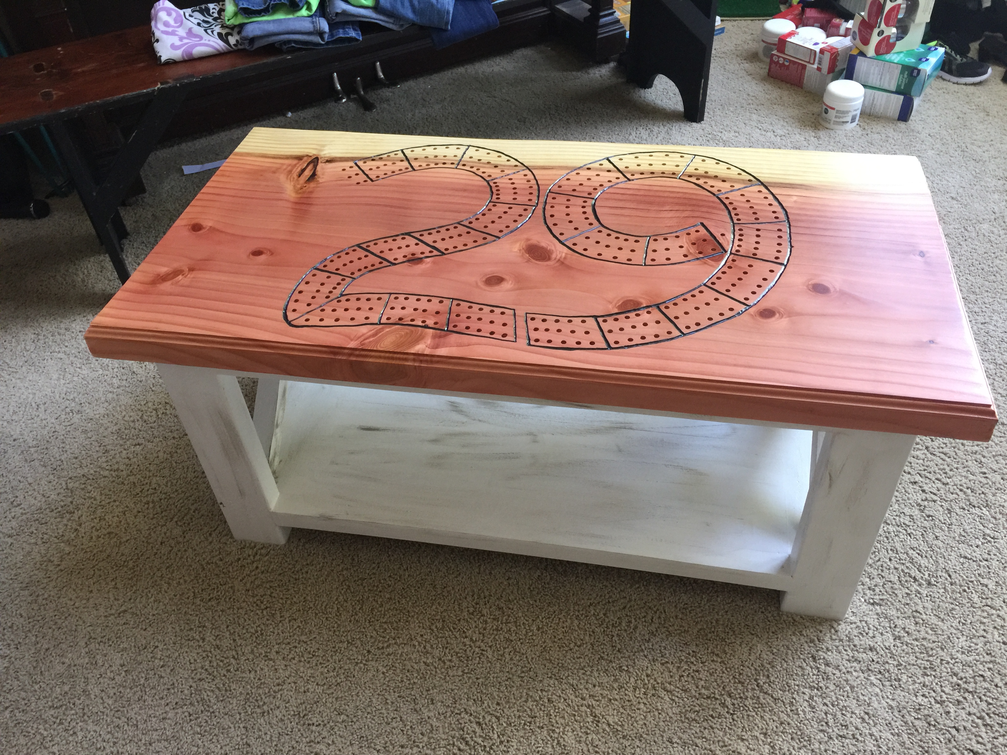 Attractive Rustic X Coffee Table Cribbage Table