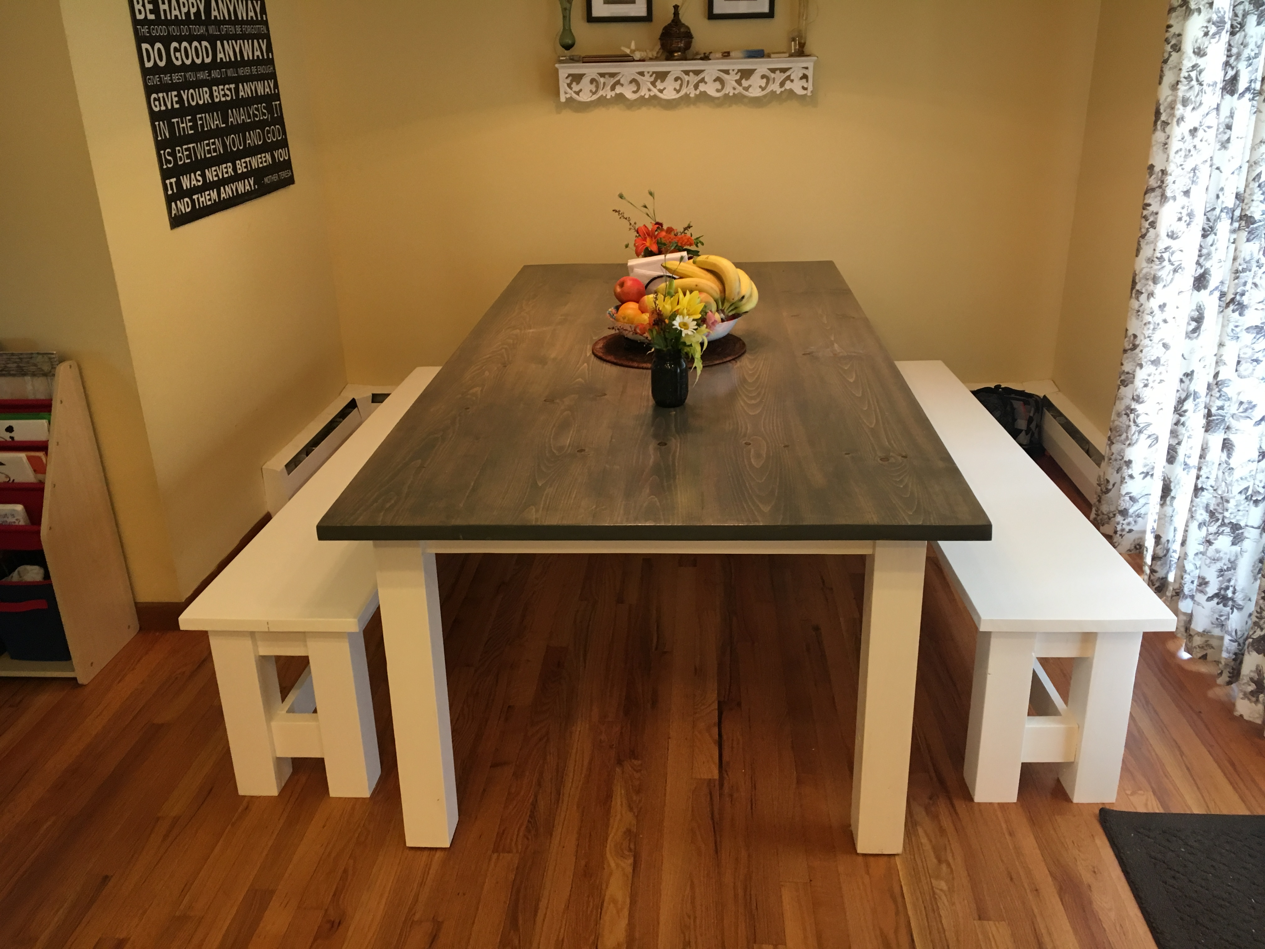 Farmhouse Table With No Stretcher And Benches Ana White