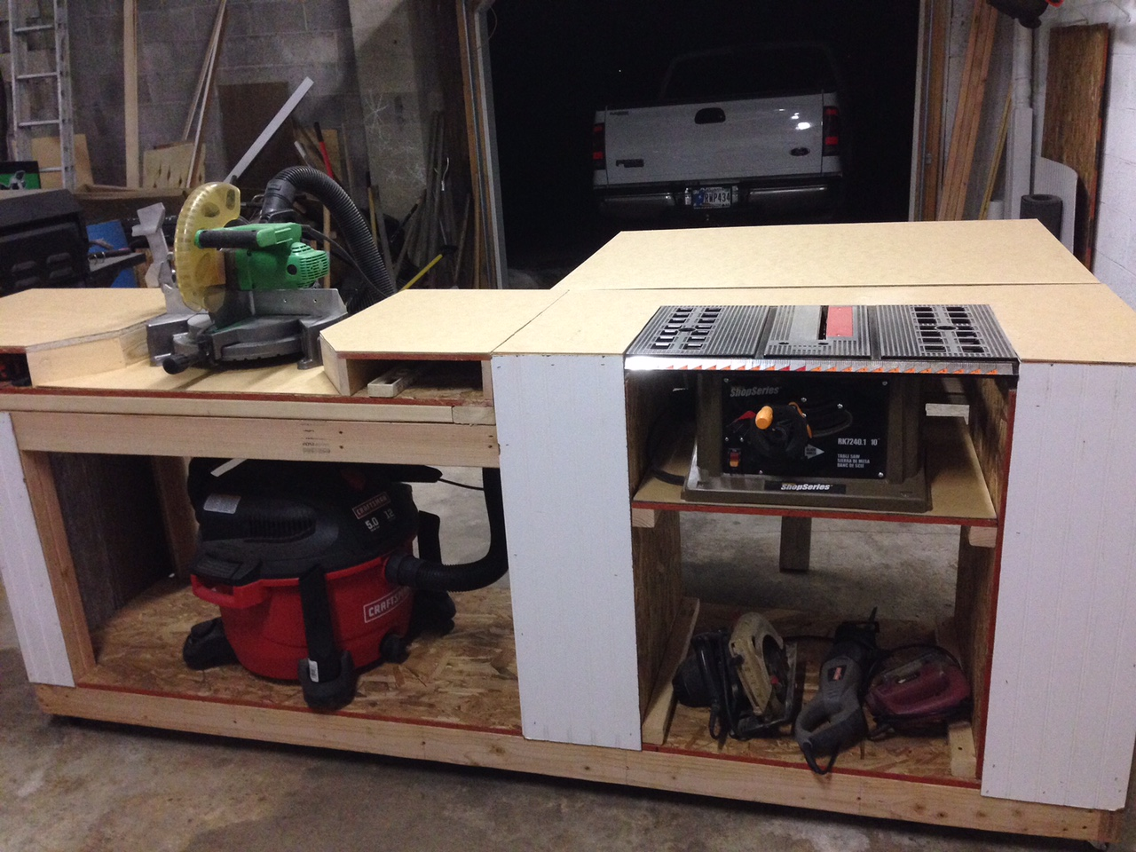 Ana white miter saw and table saw station diy projects for Table saw table plans