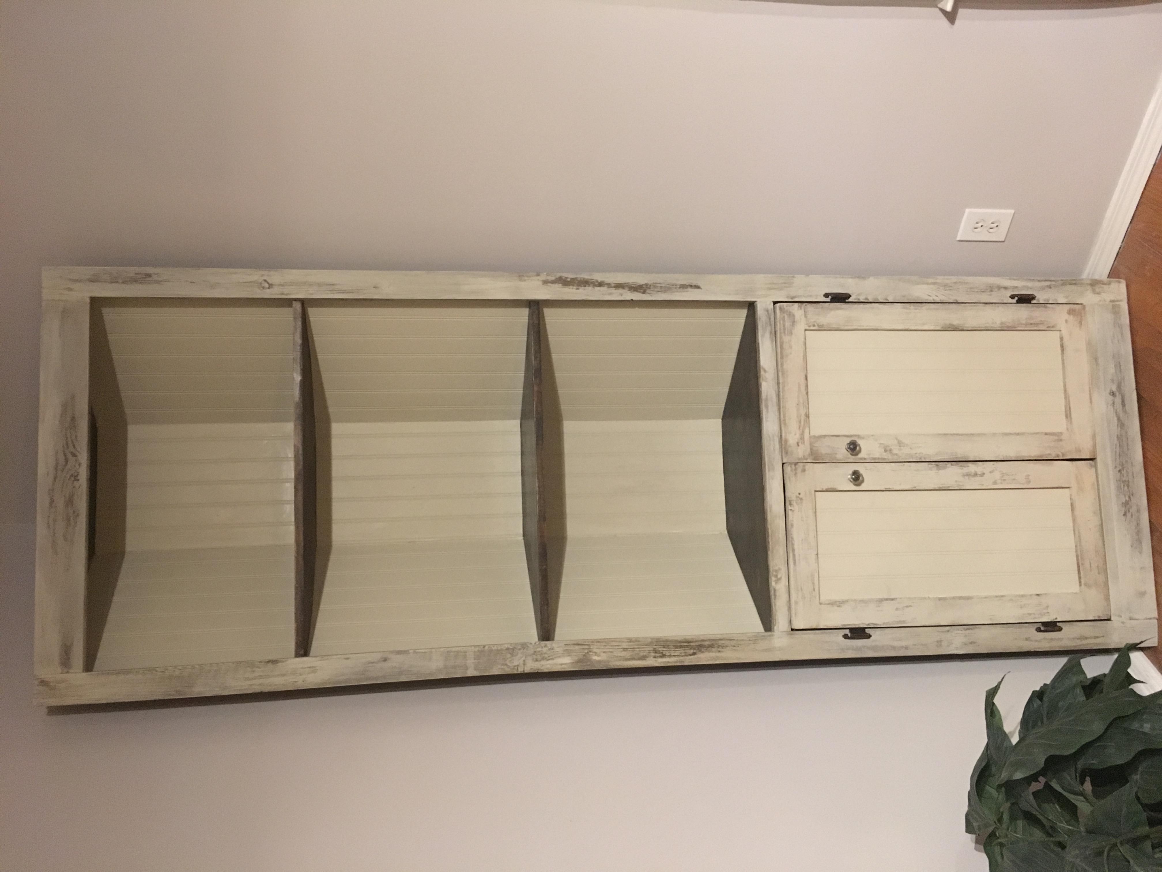 distressed antique white corner cabinet | ana white