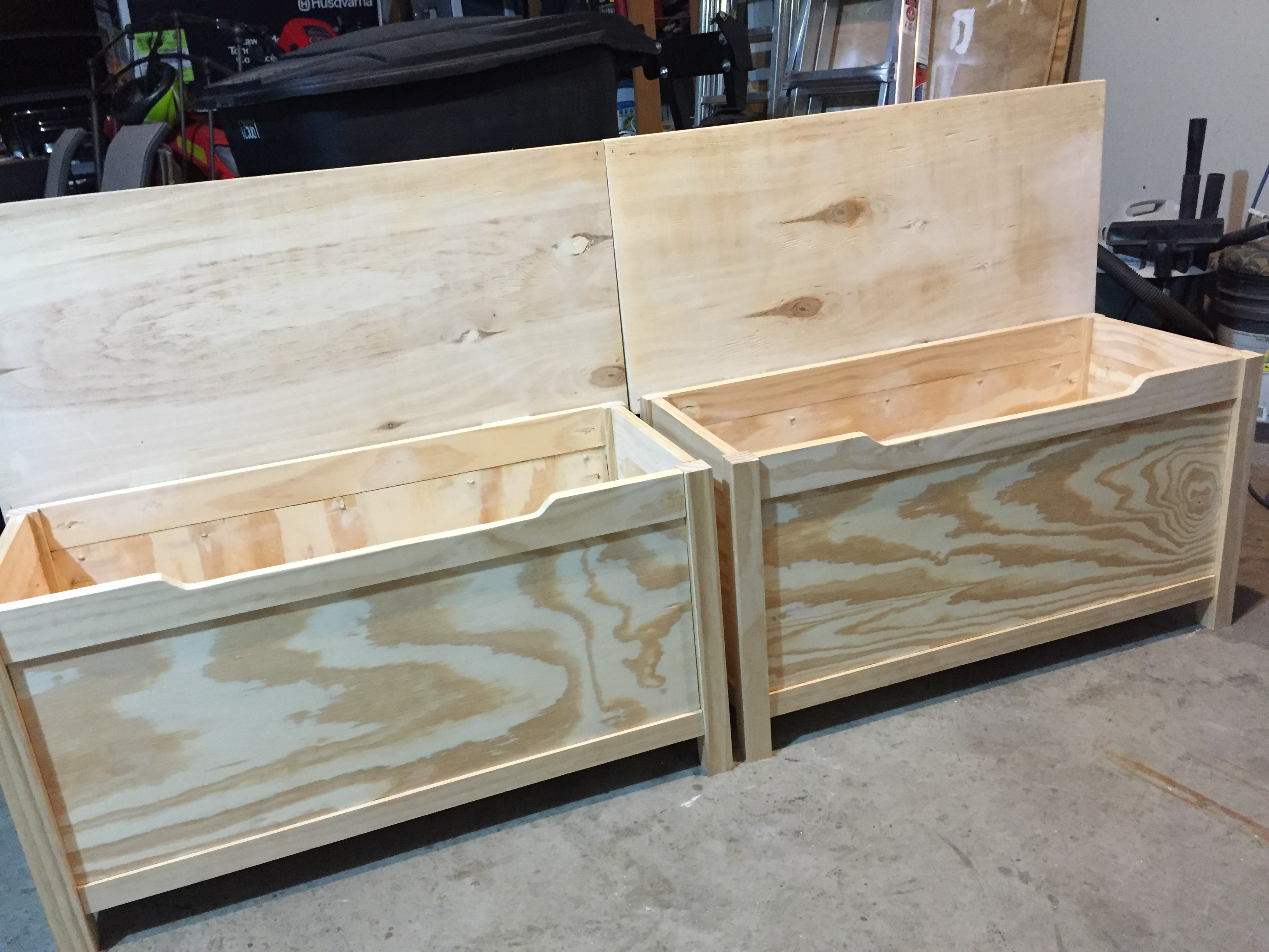 Large Wood Storage Bench