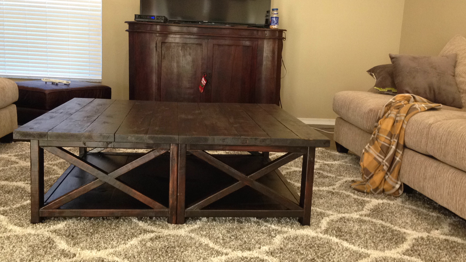 Ana white rustic x square oversized coffee table diy for X coffee tables