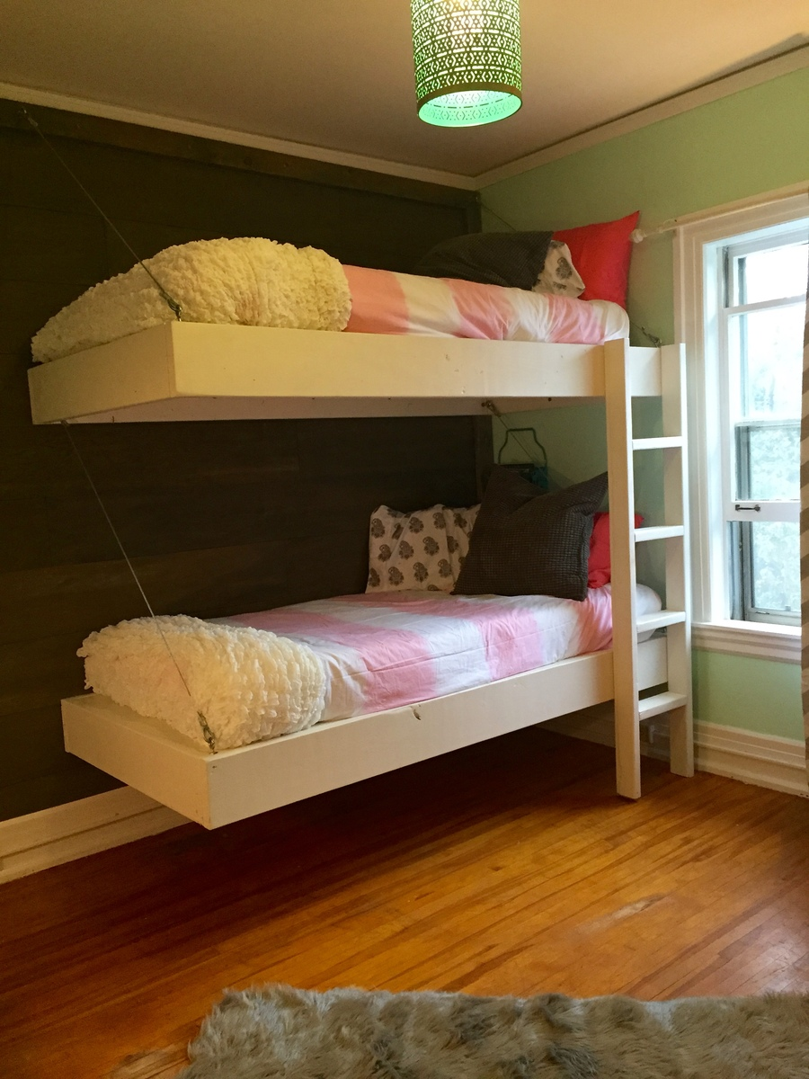 ana white floating bunk beds and desk diy projects