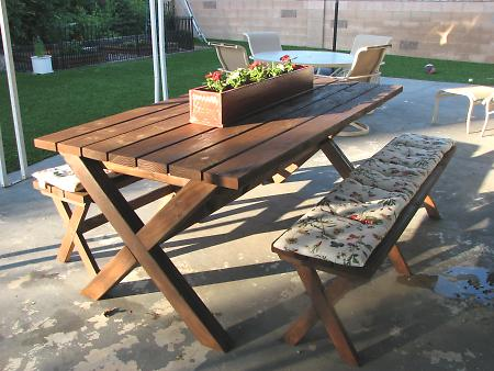 High Quality Features Modern Or Contemporary Picnic Table Styling, These Sturdy X  Benches Are Easy To Build And Stylish.