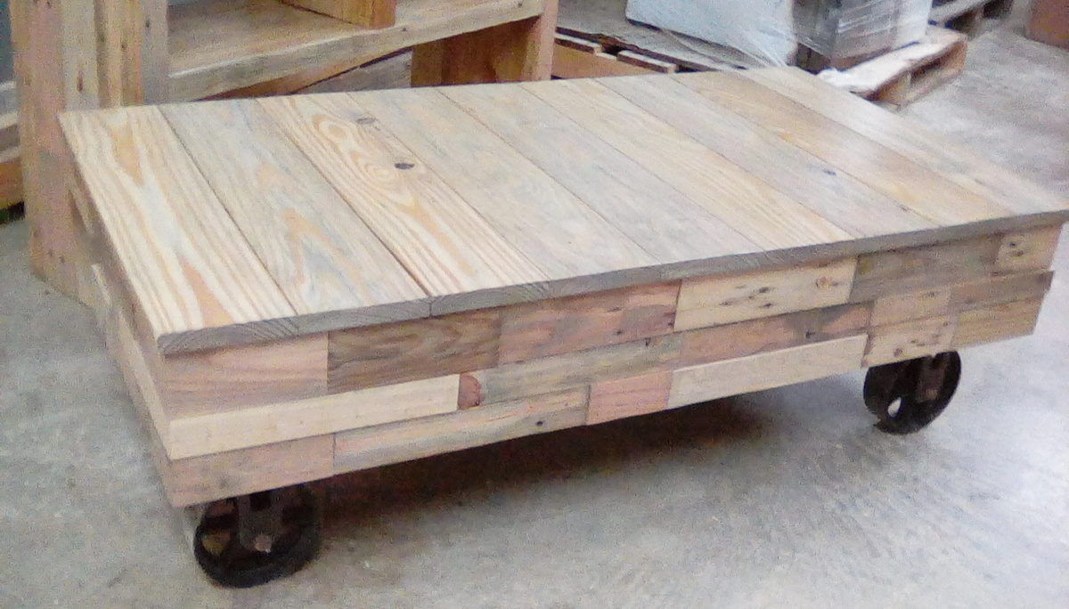 Reclaimed Pallet Wood Factory Cart Coffee Table Ana White