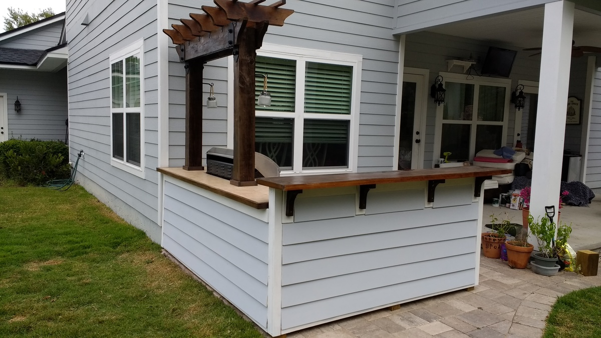 ana white outdoor bar grill surround with 2 post pergola. Black Bedroom Furniture Sets. Home Design Ideas