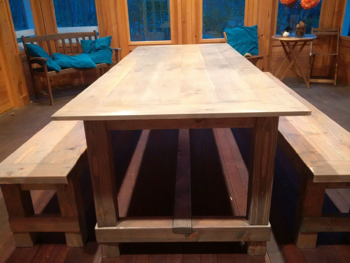 Ana White Mitered Corner Farmhouse Table Shiplap Top