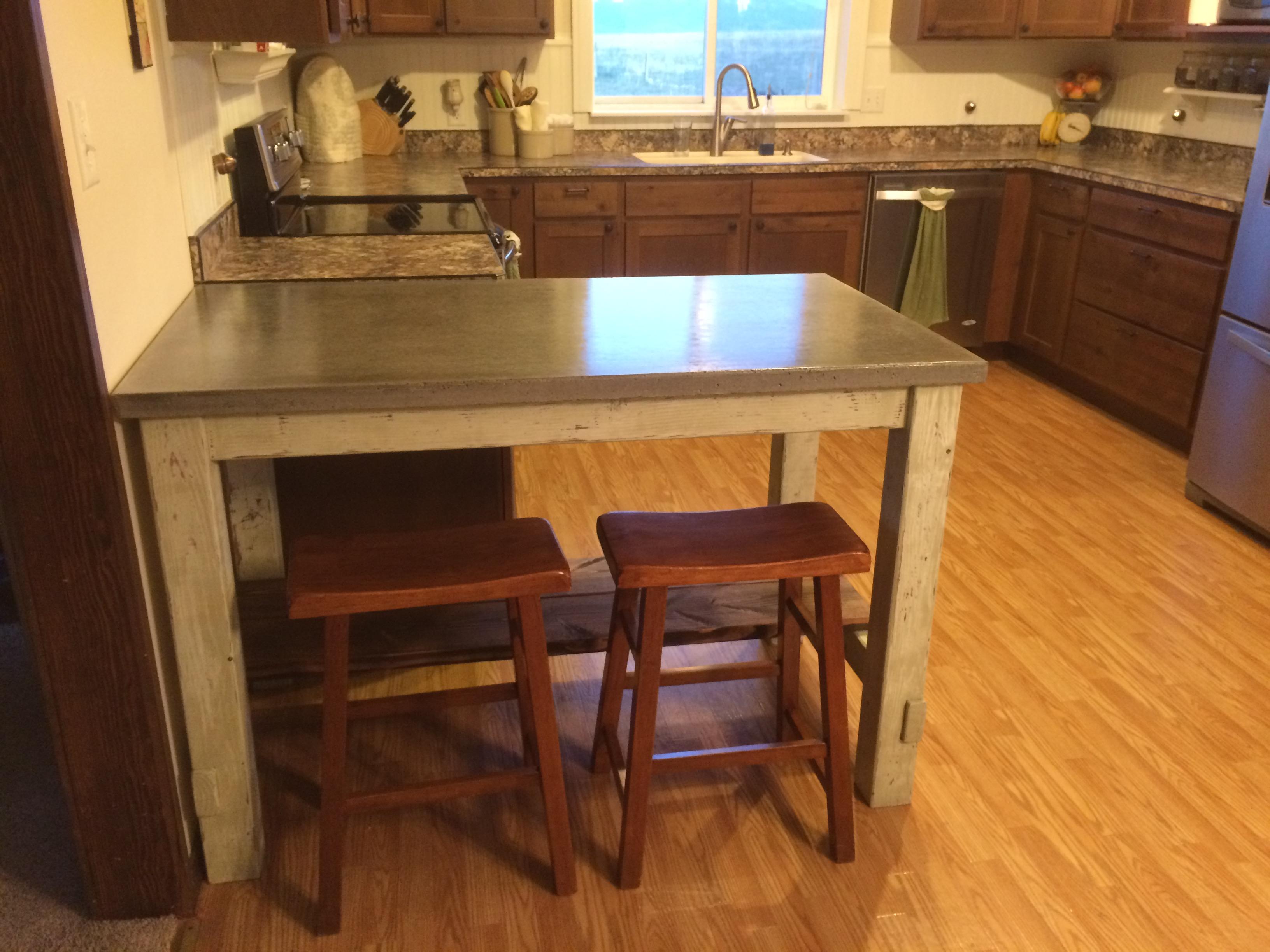 Kitchen Island with Concrete Countertop | Ana White
