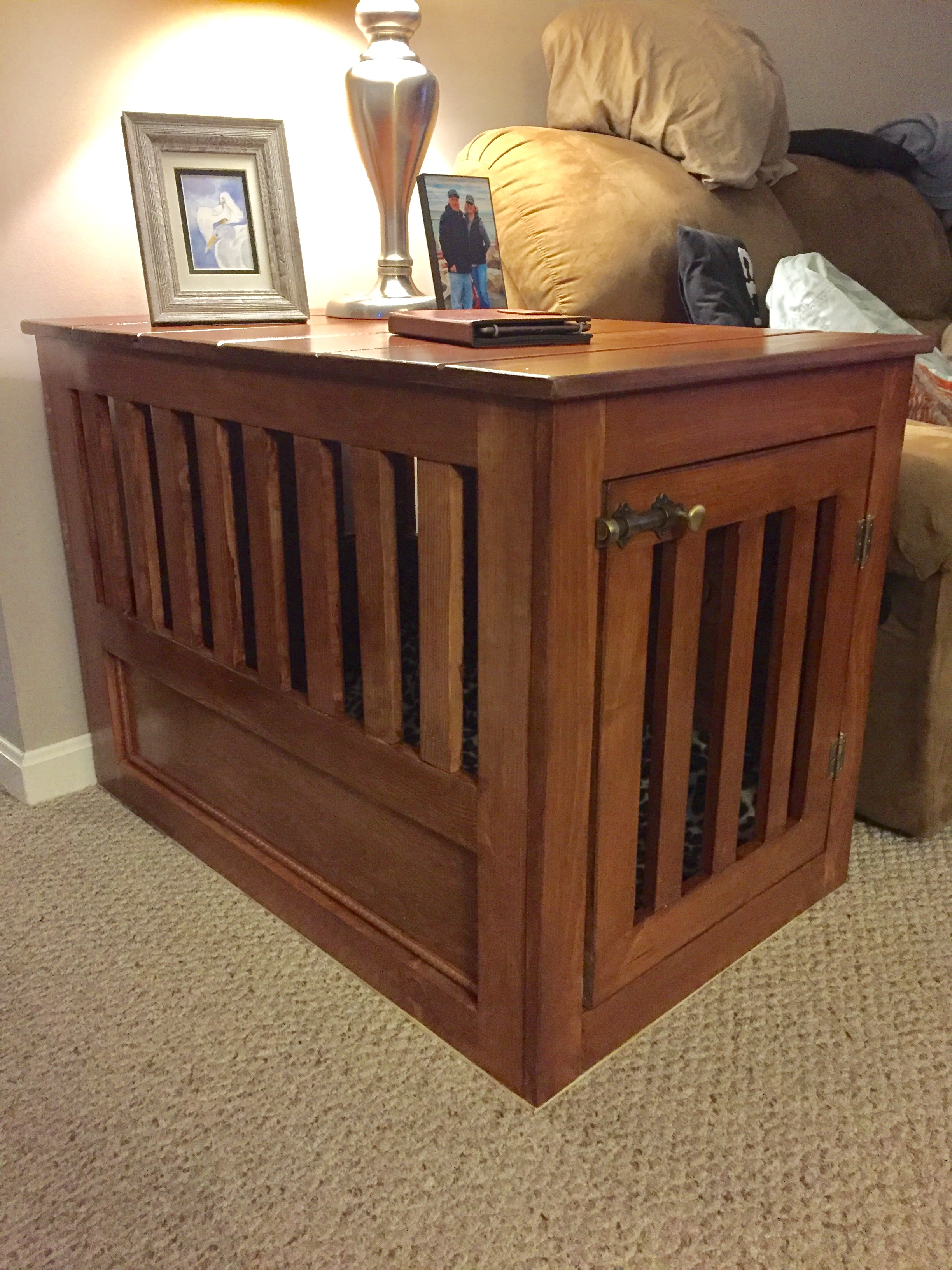 Large Wood Pet Kennel End Table